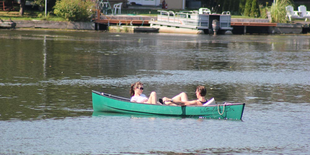 Couple in Canoe on East Arm, Waterstone Inn Activities, Greenwood Lake NY
